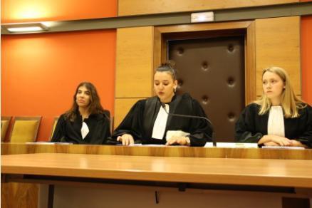 Deux magistrats (Madame Nathalie GOUY PAILLER, 1ère vice présidente et Madame Perrine LANNELONGUE, substitut), une greffière (Mme Claire VASCHALDE), et un avocat (Maître Isabelle CEYTE) ainsi que le bâtonnier.